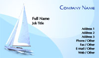 Blue Sail Boat Business Card Template